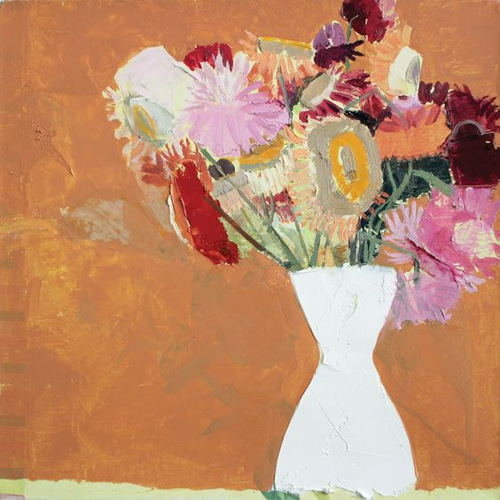 "Sydney Licht, Still Life with Flowers, 2015. Oil on linen, 12"" x 12"". For more details, go to markelfinearts.com. #LuxeHoliday"