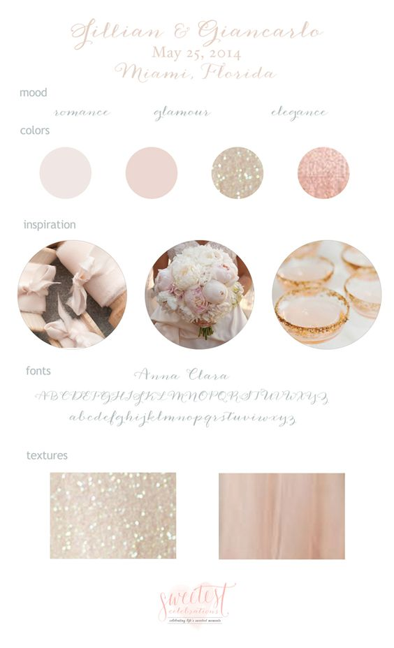 Blush and Champagne Wedding Mood Board by Sweetest Celebrations #romance #glamour #sparkle #glitter