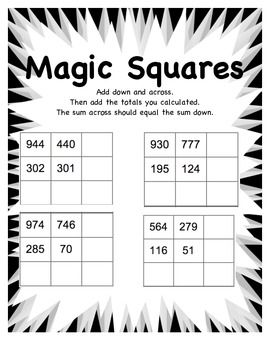 Magic Squares Math Worksheet | Addition Worksheets, Worksheets and ...