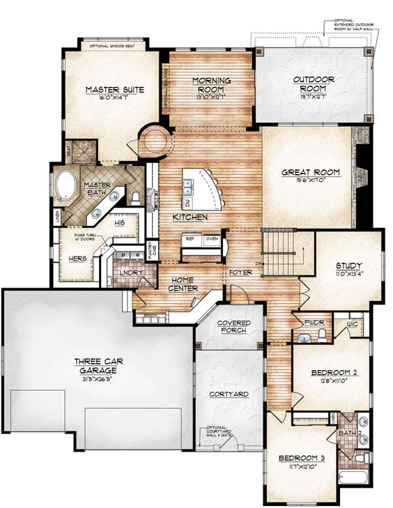 Avon model by sopris homes main level plan home plans for Study bed plans