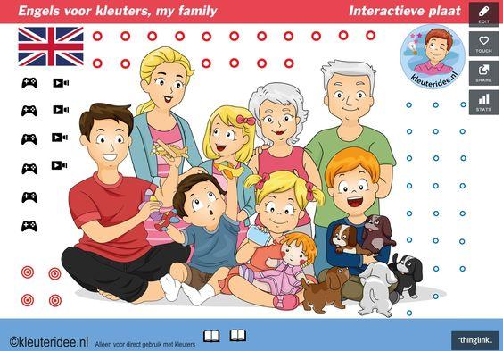 Engels voor kleuters, mijn familie,  Kindergarten interactive English lessons, games and songs about 'my family'  for IBW en digiboard, kleuteridee.nl
