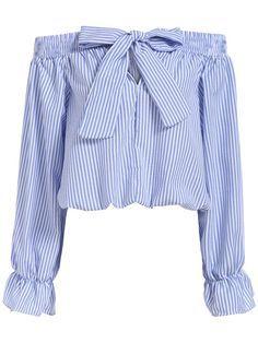 top cuello barco lazo rayas verticales-azul-Spanish SheIn(Sheinside)