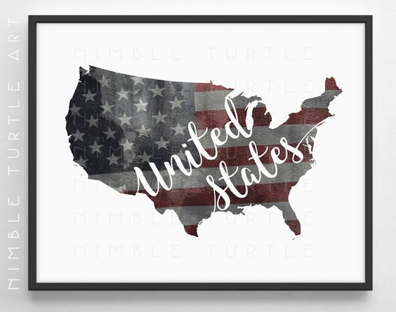 United States Outline Watercolor with Stars and Stripes Grungy Background - Instant Download