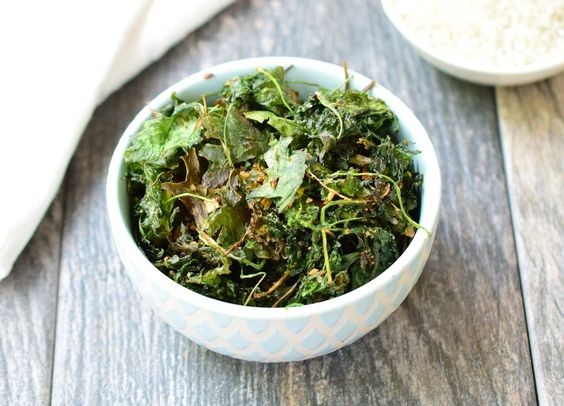 It's important to have a healthy option when you get afternoon cravings. These kale chips, along with raw nuts, will help satisfy your hunger in a healthy way and get you through to dinner. They're low carb and diabetic friendly.