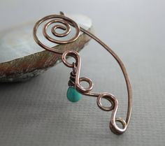 Swirly flower and vine shawl pin or scarf pin with turquoise color glass drop dangle
