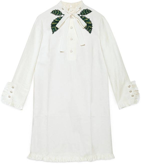 Cotton linen embroidered dress