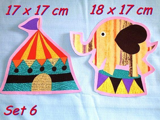 Mitgebsel: Zirkus Bügelbild Set 6 Elefant und Zirkuszelt