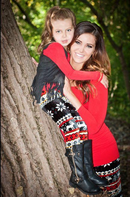 Mommy and Me Holiday Velvet Reindeer Leggings Black - Ryleigh Rue Clothing by Modern Vintage Boutique: