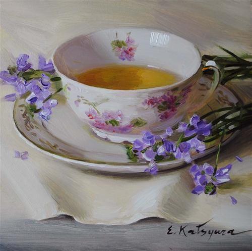 """""""Green Tea"""" - Original Fine Art for Sale - © Elena Katsyura:"""