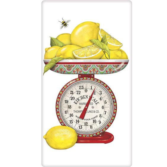 Lemons Decorative Kitchen FlourSack Towel-By Mary Lake Thompson #MaryLakeThompson