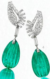 Cartier: Colombian Emerald and diamond ear pendants, circa 1940.  From FD Gallery.