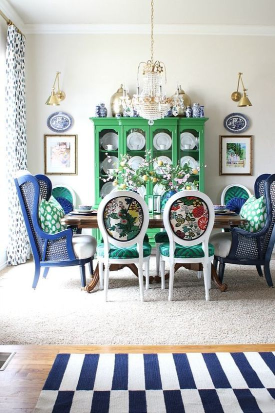 Dining Room Decor With Colorful Printed Chairs With Emerald Seats In 2020 Dining Room Decor Dining Room Colors Room Decor #printed #chairs #living #room