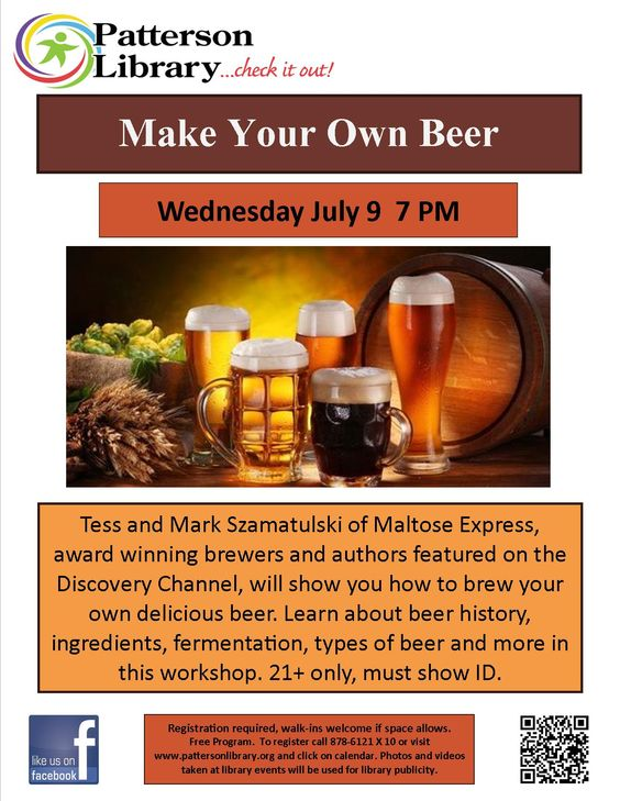 Make Your Own Beer -  - Learn all about beer and brewing it from award winning brewers. 21+ only, must show ID