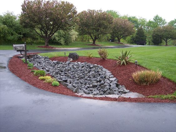 Drainage pipe under driveway landscaping rip rap swale for Drain pipe landscaping