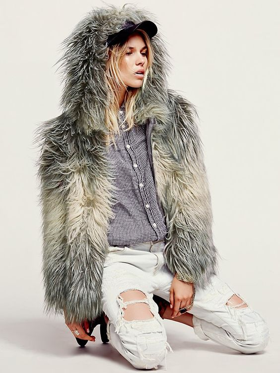 Free People Faux Fur Hooded Coat at Free People Clothing Boutique