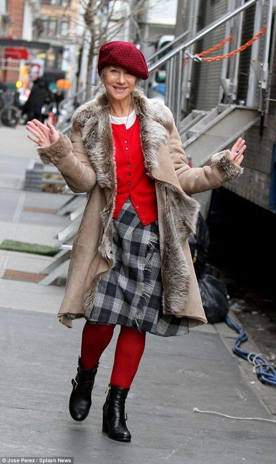 Бойкий взгляд: Хелен Миррен был спортивным эклектичный ансамбль, как она появилась в фильме залогового красоты в Нью-Йорке в четверг