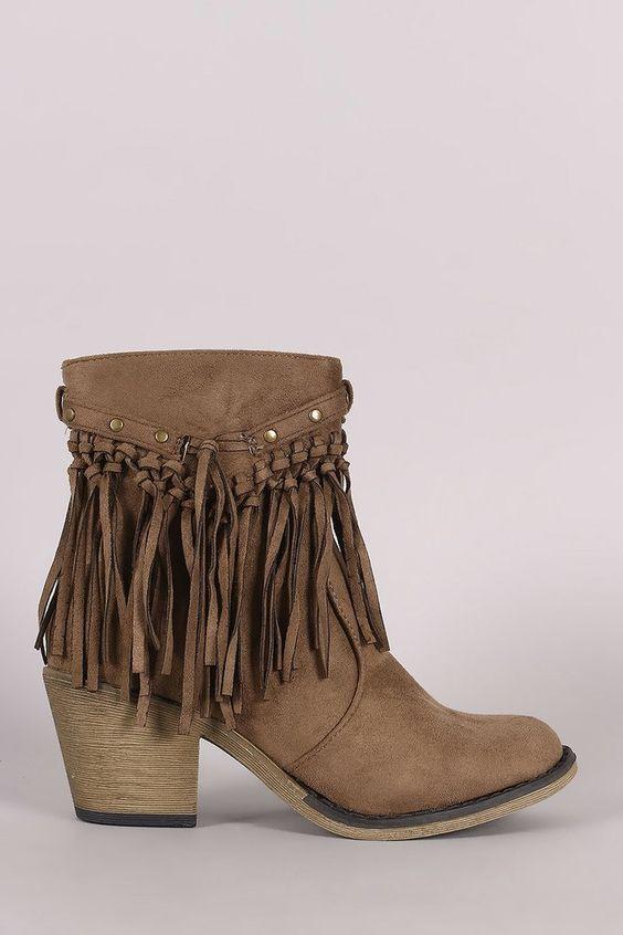 Suede Studded Fringe Chunky Heeled Western Ankle Boots – Style Lavish