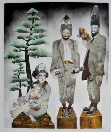 Maya Hewitt. Stumps, 2013 oil and acrylic on board 150 x 122 cm