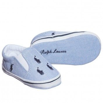 Ralph Lauren Baby Boys Blue Canvas Pre-Walker Shoes at Childrensalon.com