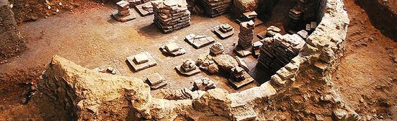 Remains of Roman baths on public display at the Novium, Chichester