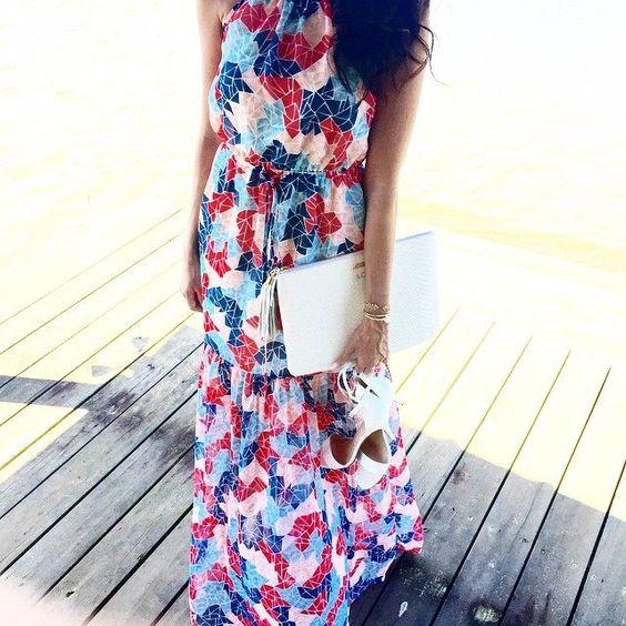 BCBG Maxi Dress, white Gigi Clutch