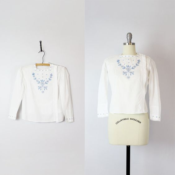 antique embroidered cotton blouse / 1910s by archetypevintage