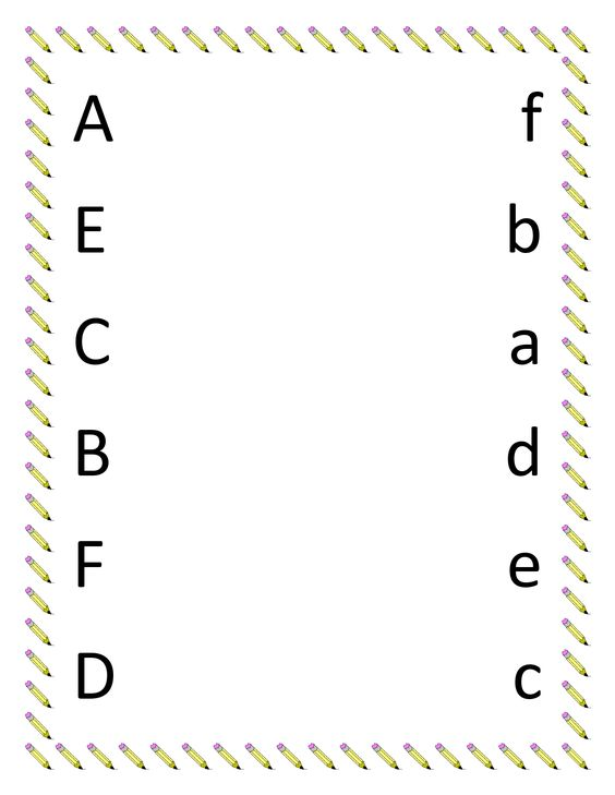 Printables Preschool Matching Worksheets kindergarten worksheets preschool printables for matching upper lowercase letter a f put in poly pocketlaminate to