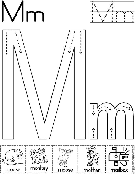 Alphabet Letter M Worksheet | Standard Block Font | Preschool ...