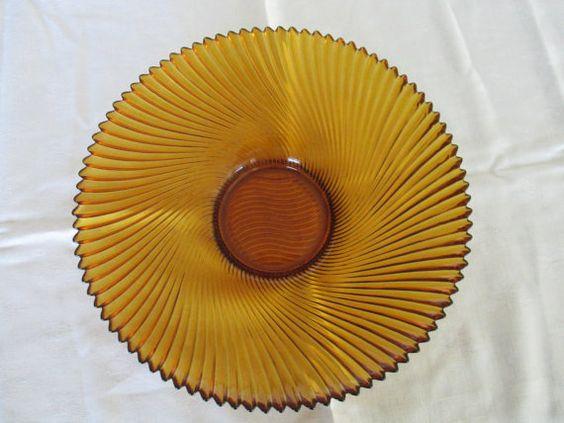 Amber glass shallow centerpiece bowl w swirl ribs