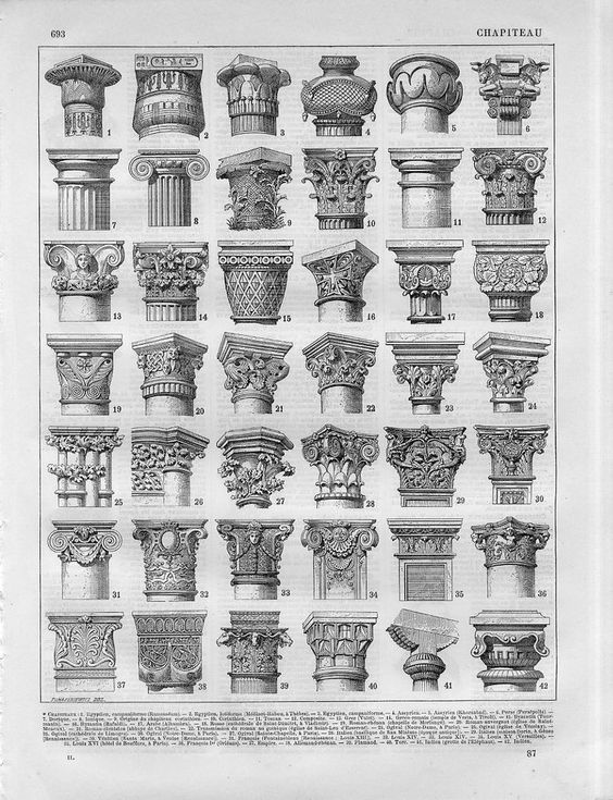 1897 ANCIENT COLUMNS EGYPT GREECE ROME RUSSIA Antique Lithographic Print Larouss