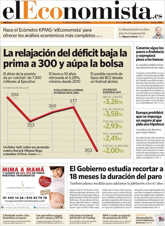 Los Titulares y Portadas de Noticias Destacadas Españolas del 24 de Abril de 2013 del Diario El Economista ¿Que le parecio esta Portada de este Diario Español?