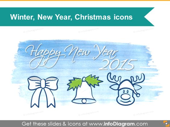 Winter Holidays Icons - Santa, New year 2015, Christmas for - winter powerpoint template