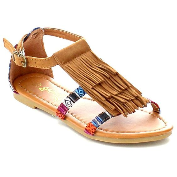 Betani FA61 Girl's 4-Layer Fringe Ankle T-strap Outdoor Flat Sandals >>> Remarkable outdoor item available now. : Girls sandals