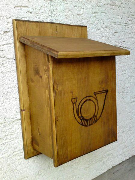 """Briefkästen - Holzbriefkasten, Holzpostkasten """"Posthorn"""" - ein Designerstück von Briefkastenwerkstatt bei DaWanda"""