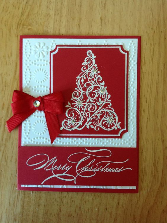 Stampin Up handmade Christmas card - red and white elegent tree