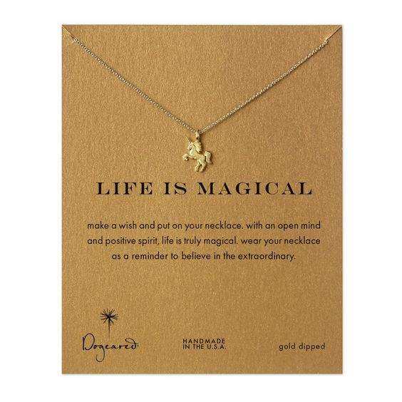 Dogeared Life is Magical Unicorn Necklace, Gold Dipped: Amazon.co.uk: Jewellery