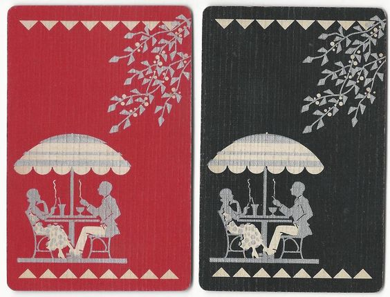 COUPLE - having a smoke - set of 2  single vintage swap playing cards ! #Vintage