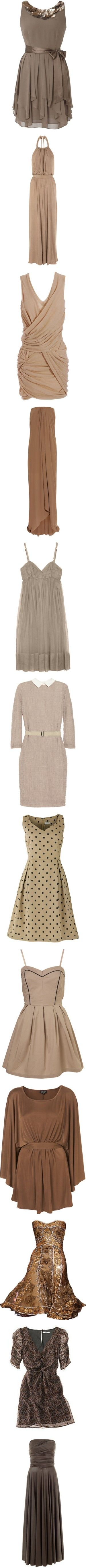 """Brown Dresses"" by rakelp4 ❤ liked on Polyvore"