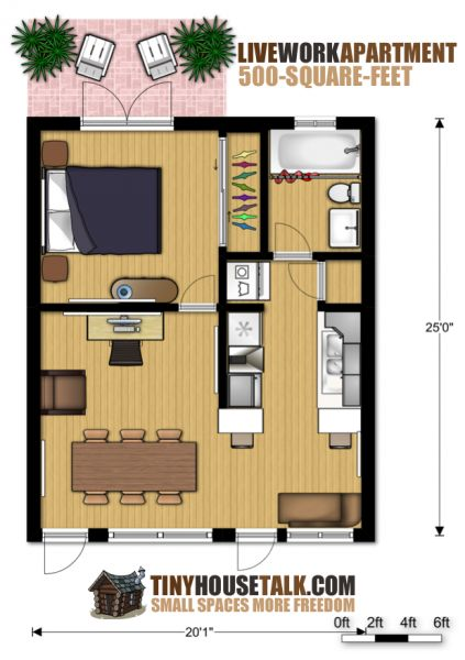 small apartment design for live  work  3d floor plan and