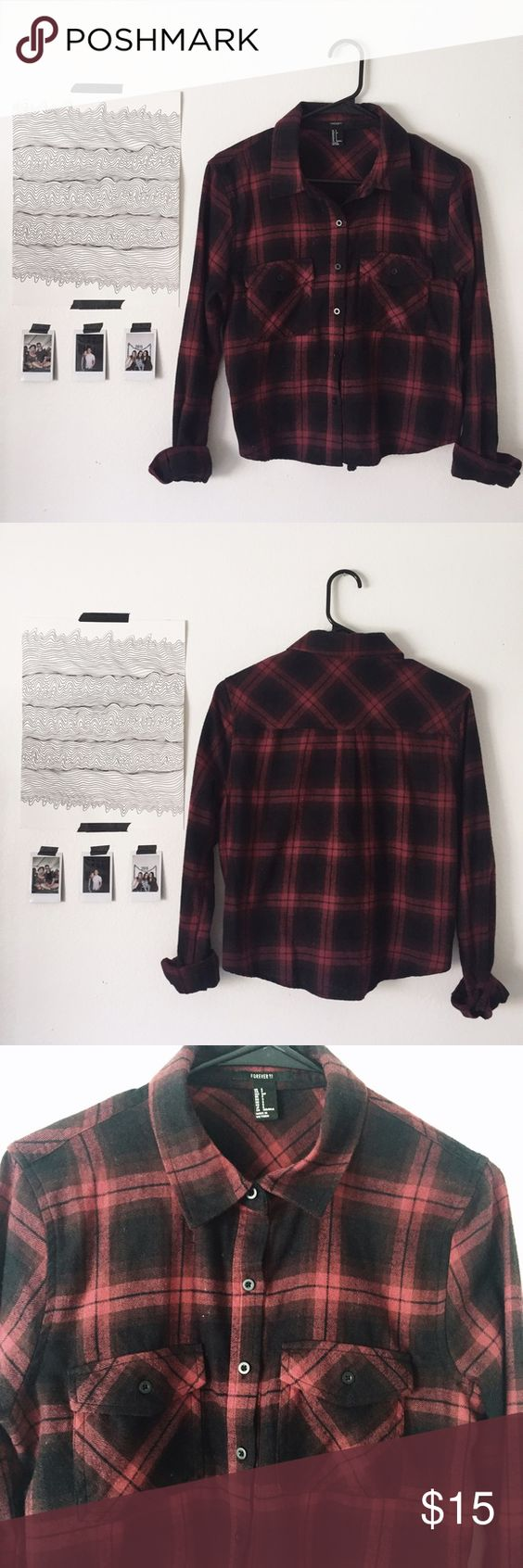 Forever 21 Cropped Flannel Super cute black and red plaid flannel! Never been worn, perfect condition! Size Small. Forever 21 Tops Button Down Shirts