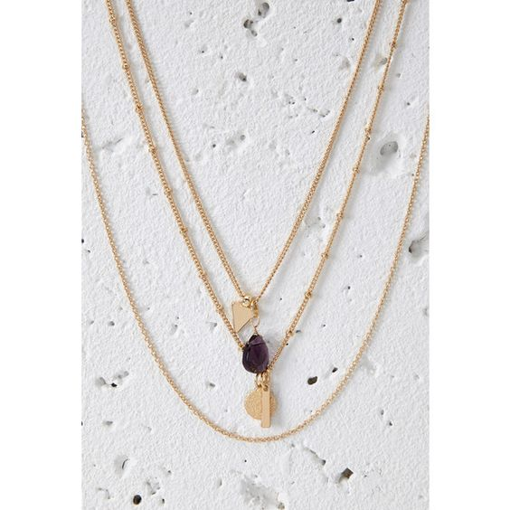 Forever 21 Layered Geo Charm Necklace ($5.90) ❤ liked on Polyvore featuring jewelry, necklaces, tear drop necklace, ball chain necklace, circle charm necklace, gemstone necklaces and circle chain necklace