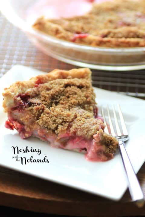 Rhubarby Strawberry Sour Cream Pie By Noshing With The Nolands Rhubarb Recipes Recipes Food