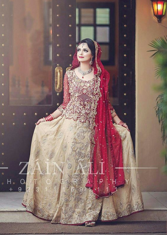 Short Shirt with beige lehnga red combination for bridals