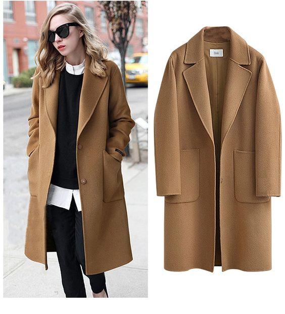 Новое осенне зимнее шерстяное пальто женское модное длинное пальто женское кашемировое пальто свободная теплая верхняя одежда Abrigos Manteau Femme Hiver купить на AliExpress
