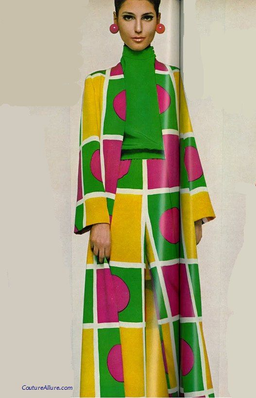 Norman Norell, 1967 vintage fashion style modern mod bright green yellow pink outfit suit sweater jacket pants graphic print circles squares 60s