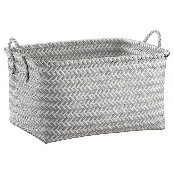 Large Woven Rectangular Storage Basket Room Essentials In 2020 Storage Baskets Room Essentials Woven Baskets Storage