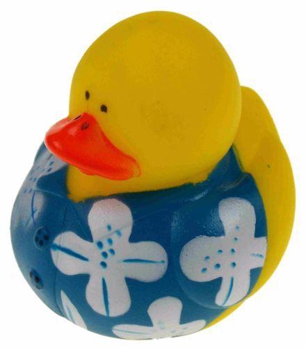 Set 12 Blue Hawaiian Flower Shirt Rubber Ducks Party Favors Cake Toppers Dozen