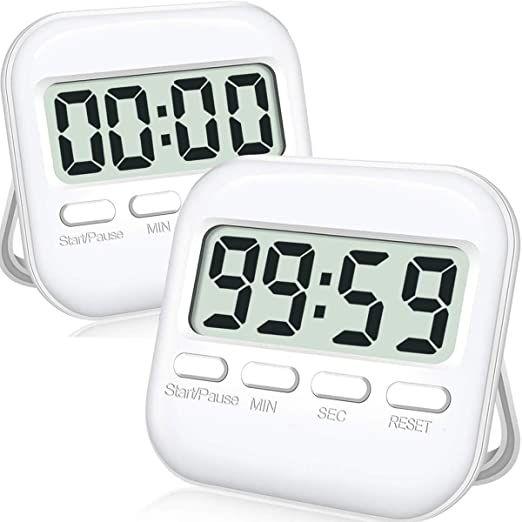 Cbiumpro Kitchen Timer 2 Pack Digital Timer For Kids Time Management Teacher Classroom Cooking Large Screen B In 2020 Digital Timer Kitchen Timers Aaa Batteries