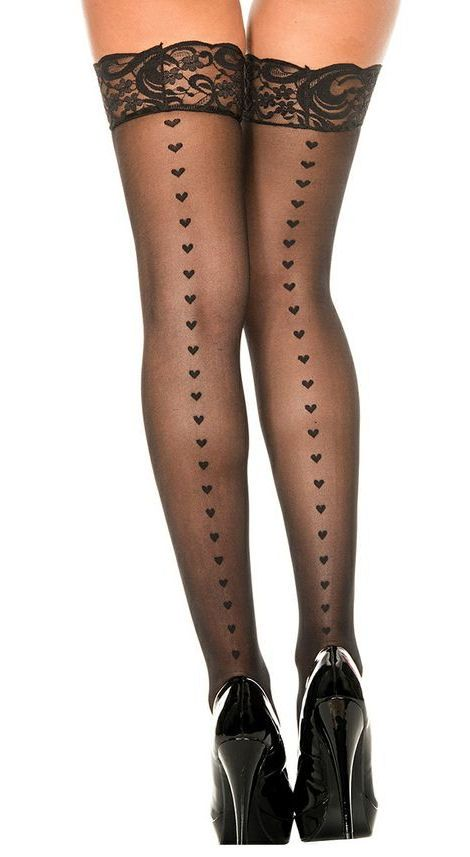 Heart Lace Thigh-High Stockings