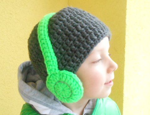 Stereo Beanie : gehäkelte Mütze und Kopfhörer - i like